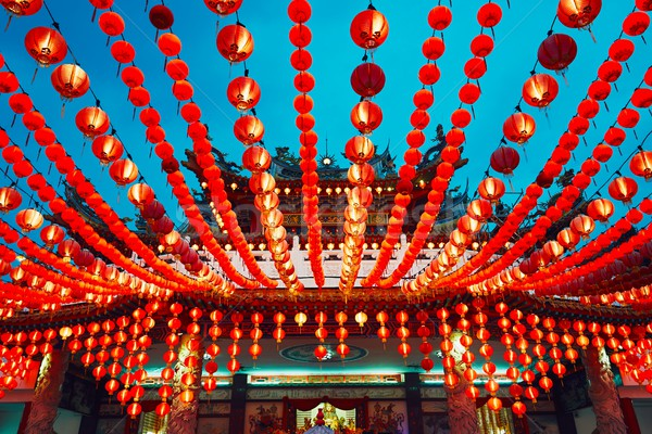 китайский храма традиционный фонарь небе здании Сток-фото © Chalabala