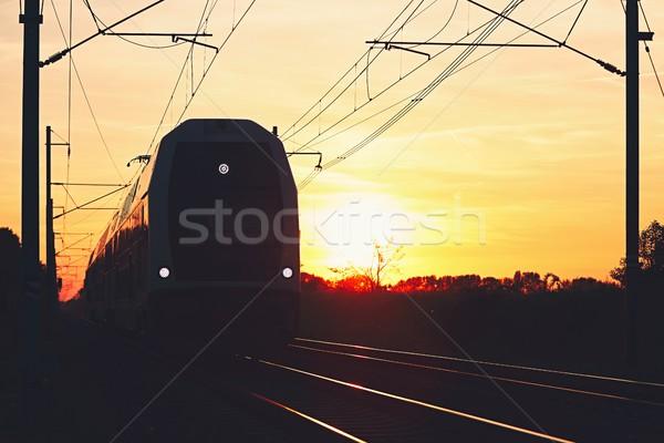 Siluet modern tren demiryolu güzel gün batımı Stok fotoğraf © Chalabala