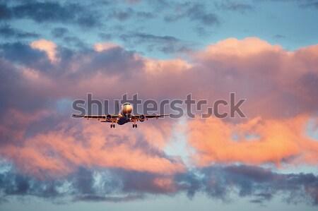 Uçak iniş gün batımı renkli seyahat Stok fotoğraf © Chalabala