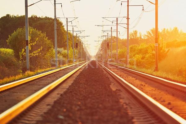 Demiryolu gün batımı şaşırtıcı altın saat modern Stok fotoğraf © Chalabala