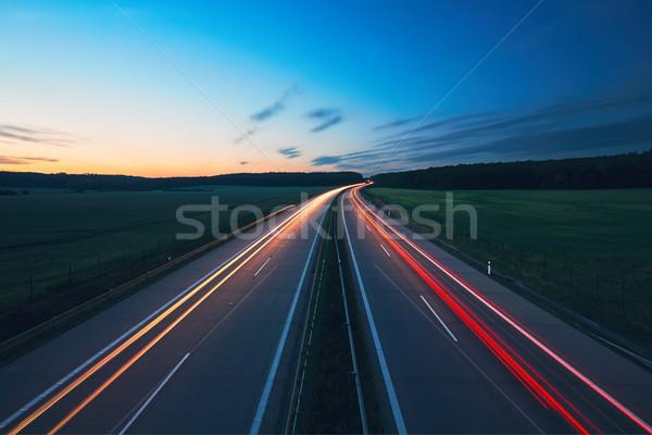 Gündoğumu karayolu taşımacılık araba yol Stok fotoğraf © Chalabala