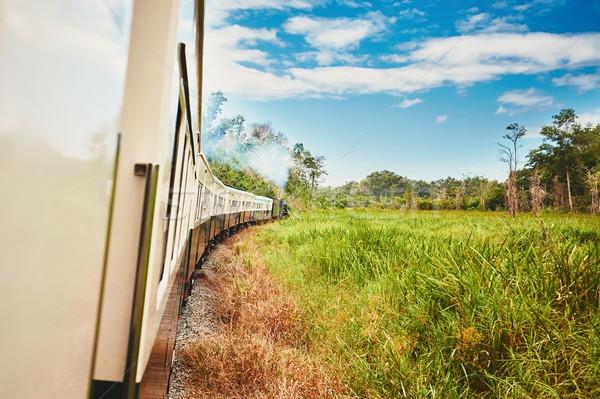 Vapor tren vista ventana Foto stock © Chalabala
