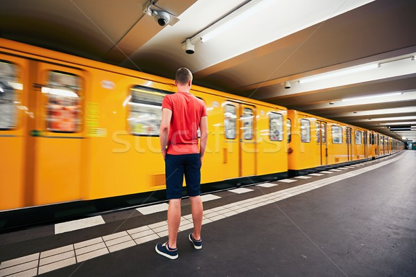 Trafik metro genç bekleme adam kentsel Stok fotoğraf © Chalabala