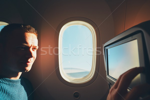 Uçak rahat genç yolculuk Stok fotoğraf © Chalabala