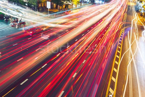 Akşam trafik sıkışıklığı meşgul sokak gece yol Stok fotoğraf © Chalabala
