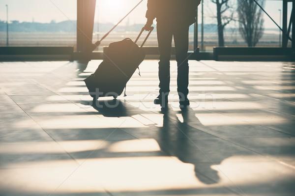 тень путешественник аэропорту Камера человека солнце Сток-фото © Chalabala