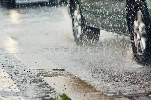 Ağır yağmur şehir trafik yağmurlu gün Stok fotoğraf © Chalabala