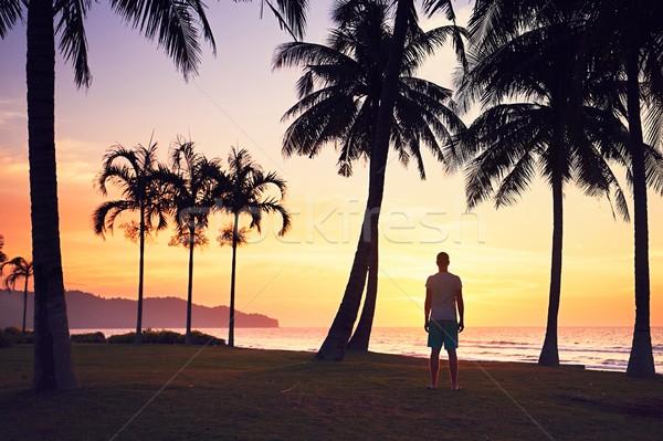şaşırtıcı gün batımı plaj adam izlerken tropikal plaj Stok fotoğraf © Chalabala