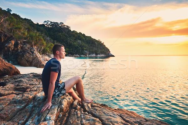 Tek başına plaj gün batımı genç güzel Stok fotoğraf © Chalabala