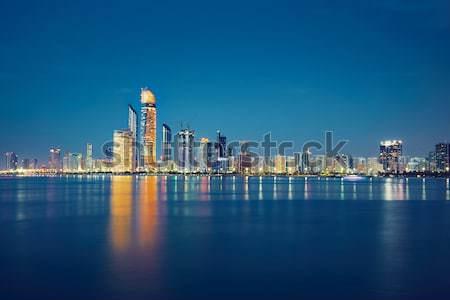 Gece ufuk çizgisi Arap Bina şehir seyahat Stok fotoğraf © Chalabala