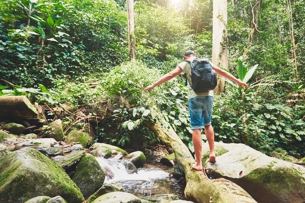 Uzun yürüyüşe çıkan kimse nehir tropikal rainforest borneo ağaç Stok fotoğraf © Chalabala