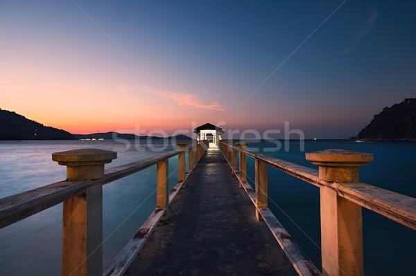 桟橋 すごい 日没 島々 風景 光 ストックフォト © Chalabala