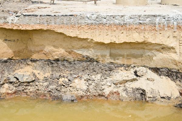 Asfalt drogowego uszkodzony budowy wzór środowisk Zdjęcia stock © chatchai