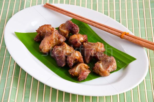 Domuz eti pişmiş baharatlar mutfak tablo akşam yemeği Stok fotoğraf © chatchai