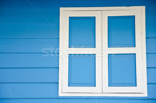 Kapalı pencere boş mavi ahşap duvarlar Stok fotoğraf © chatchai