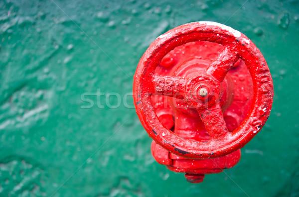 Czerwony koła zawór zielone metal wody Zdjęcia stock © chatchai