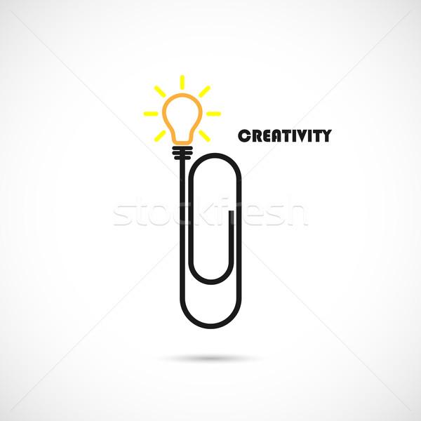 Kreative Büroklammer Glühlampe logo Ideen Eingebung Stock foto © chatchai5172