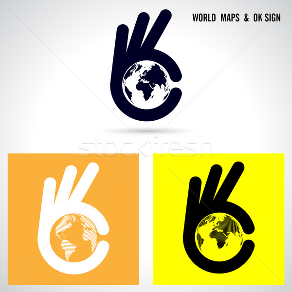 Stock photo: Creative hand and world map abstract logo design.Hand Ok symbol