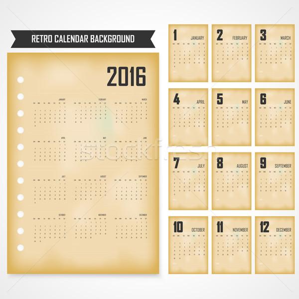 Calendário 2016 cinza retro modelo ilustração Foto stock © chatchai5172