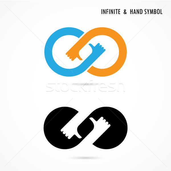 Hand sign and infinite logo elements design.Infinity sign.The be Stock photo © chatchai5172
