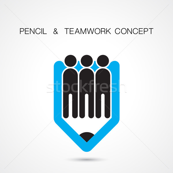 Creative pencil and people icon abstract logo design vector temp Stock photo © chatchai5172