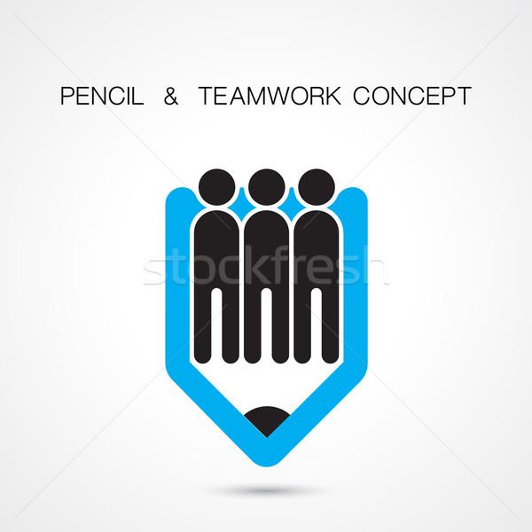 Criador lápis pessoas ícone abstrato design de logotipo Foto stock © chatchai5172