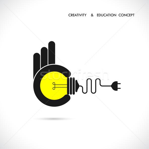Ilustração idéias bulbo mão Foto stock © chatchai5172