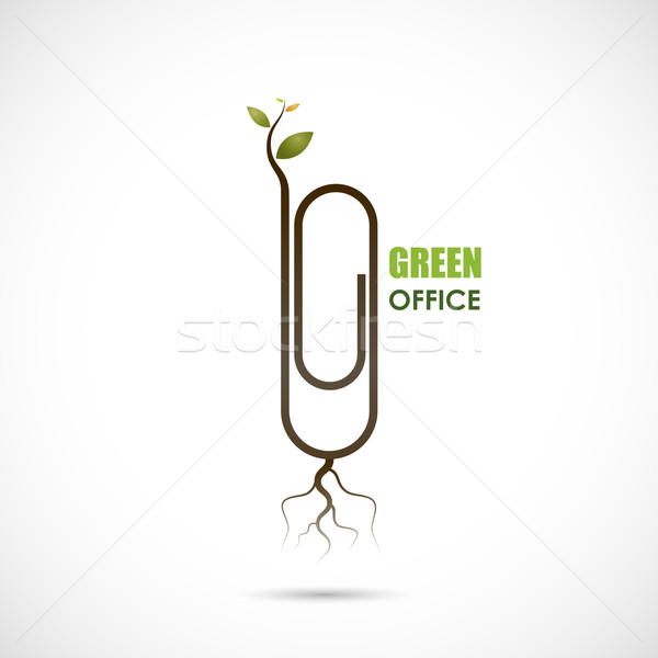 Creative paper clip logo design. Save the World and Go Green Con Stock photo © chatchai5172