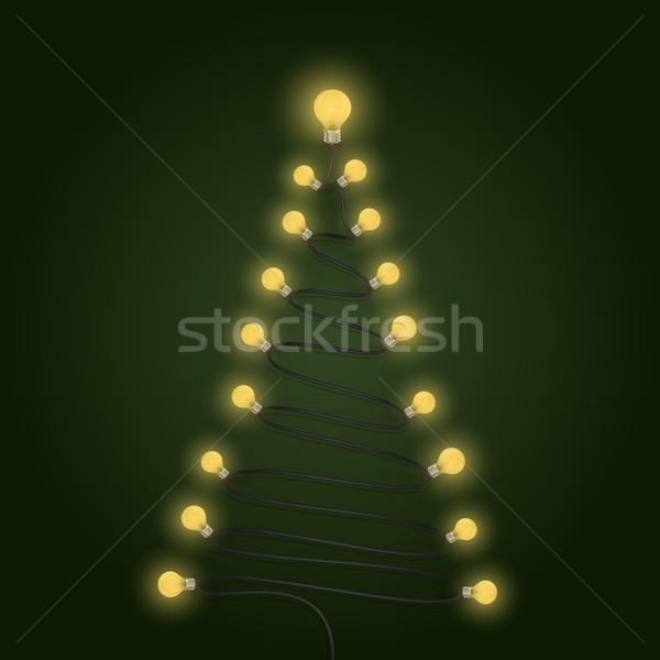 Colorido bombillas árbol de navidad símbolo alegre Navidad Foto stock © chatchai5172