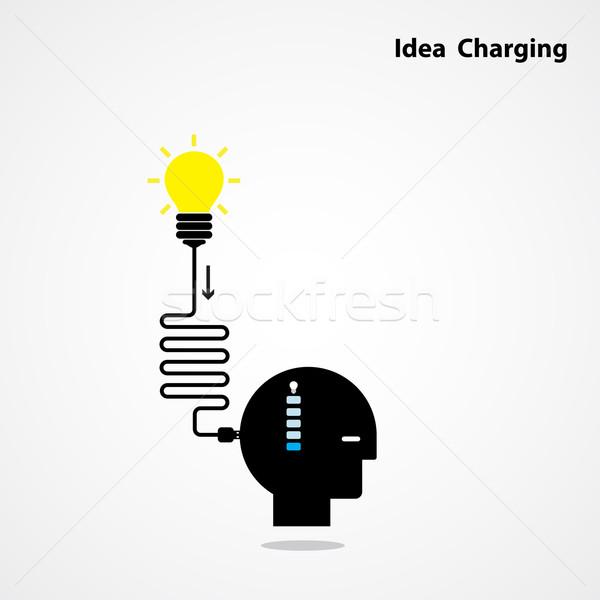 Fikir gerek işadamı kafa yaratıcı ampul Stok fotoğraf © chatchai5172