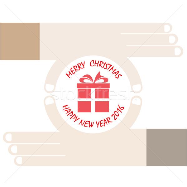 Eller hediye vektör ikon neşeli Noel Stok fotoğraf © chatchai5172