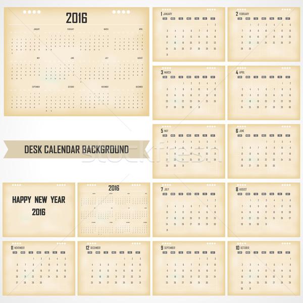 Secretária calendário 2016 vetor modelo de design conjunto Foto stock © chatchai5172