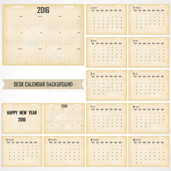Desk Calendar 2016 Vector Design Template. Set of 12 Months. Wee Stock photo © chatchai5172