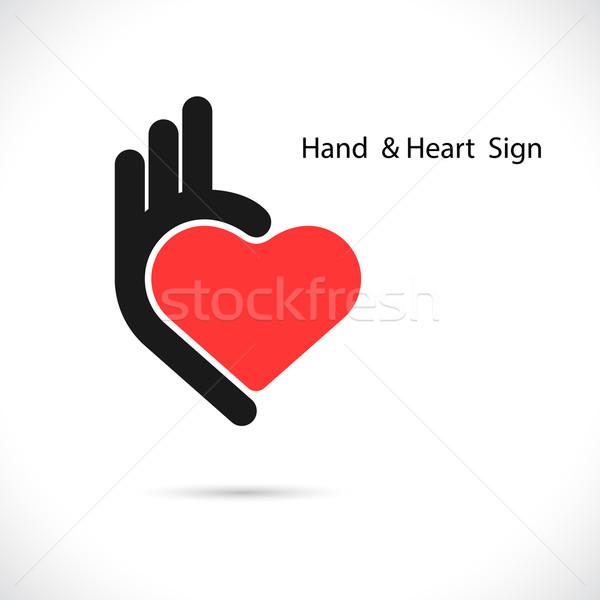 Yaratıcı el kalp şekli soyut logo neden Stok fotoğraf © chatchai5172