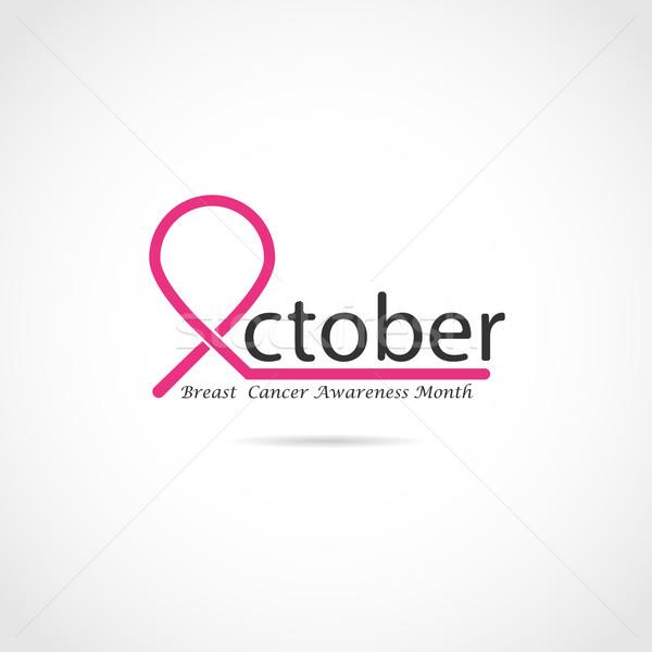 Câncer de mama consciência ícone menina mulheres Foto stock © chatchai5172