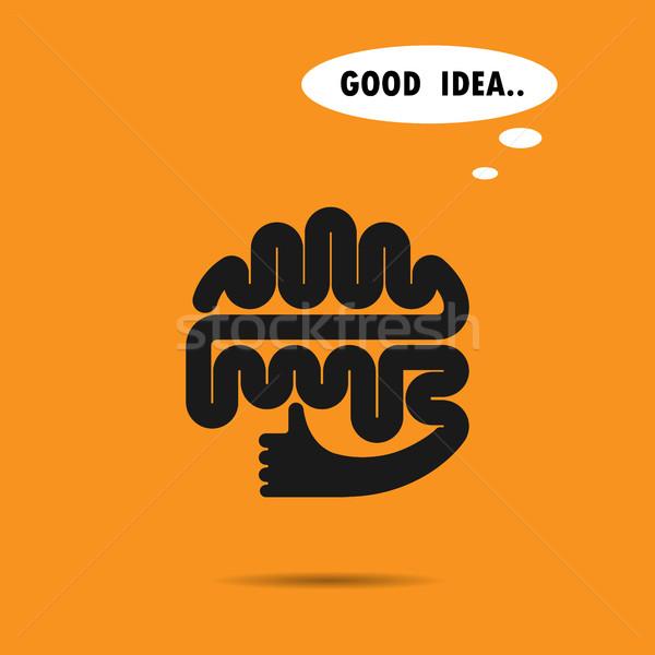 Beyin logo siluet dizayn vektör en iyi Stok fotoğraf © chatchai5172