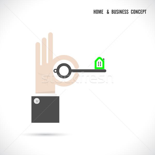 Chave casa ícone abstrato logotipo vetor Foto stock © chatchai5172