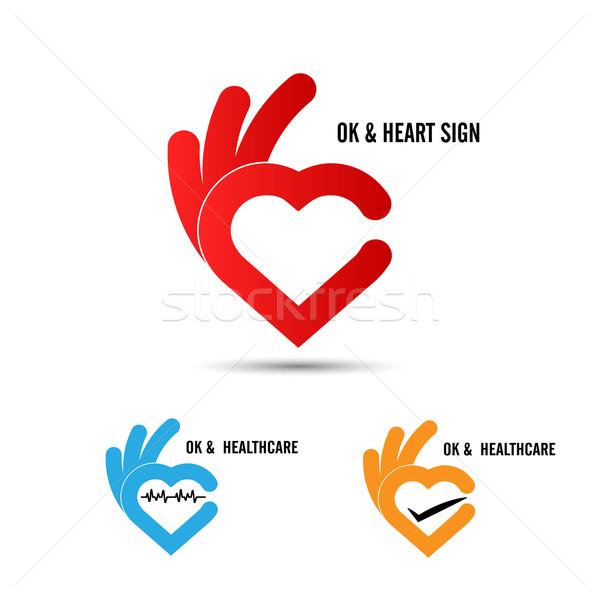 Creative hand and heart shape abstract logo design.Hand Ok symbo Stock photo © chatchai5172