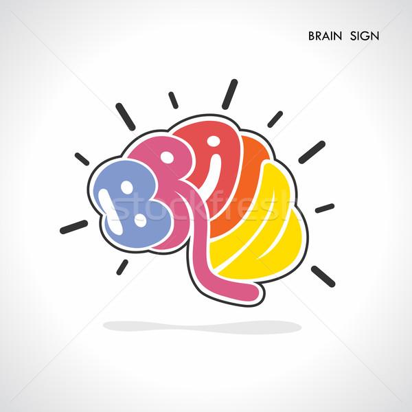 Criador cérebro forma abstrato logotipo aprendizagem Foto stock © chatchai5172