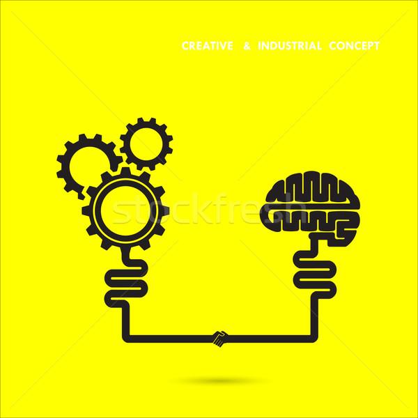 Criador cérebro industrial engrenagem ícone Foto stock © chatchai5172
