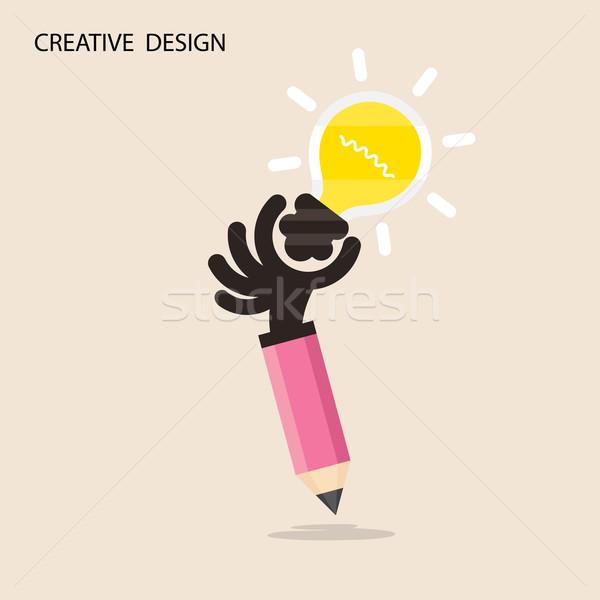 Yaratıcı ampul ışık fikir kalem el Stok fotoğraf © chatchai5172
