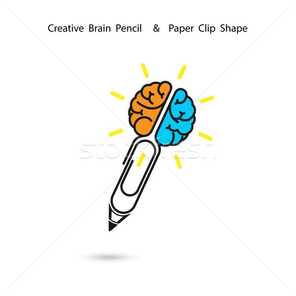 Yaratıcı beyin kalem logo kırpmak fikirler Stok fotoğraf © chatchai5172