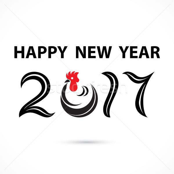 Frango assinar férias ano novo feliz ano novo saudação Foto stock © chatchai5172