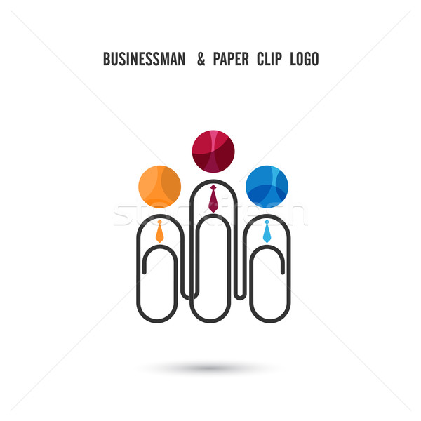Businessman and paper clip logo design .Together union symbol of Stock photo © chatchai5172