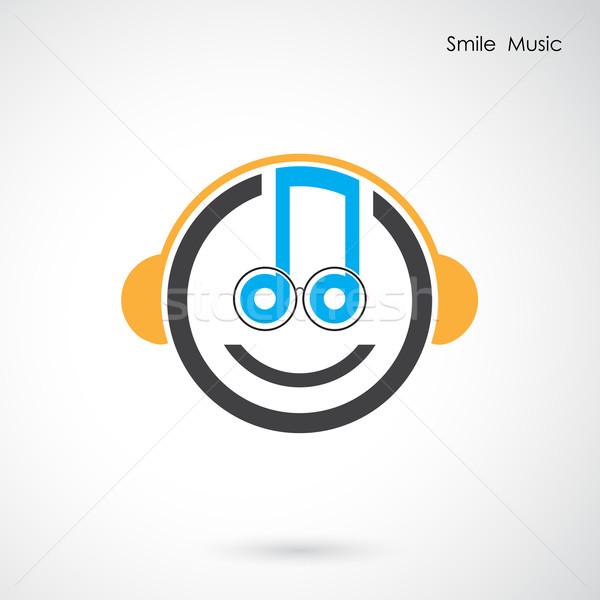Yaratıcı soyut müzikal dizayn vektör logo tasarımı Stok fotoğraf © chatchai5172