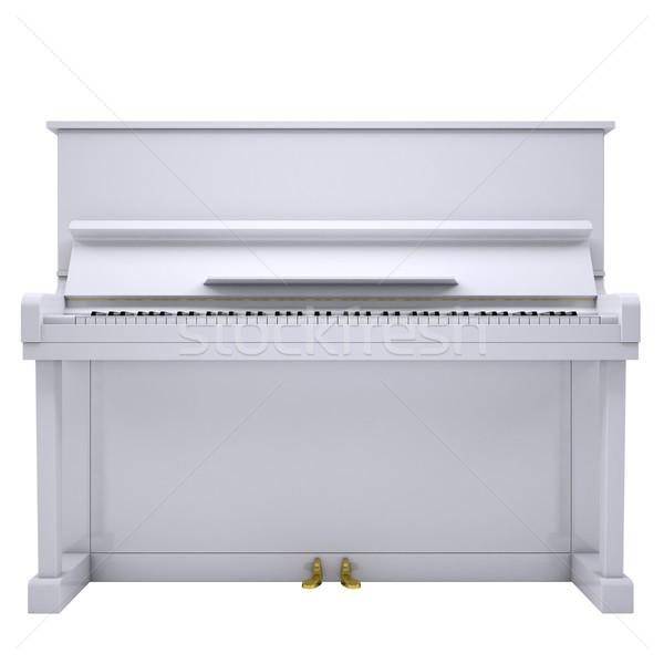 Fehér zongora izolált render zene művészet Stock fotó © cherezoff