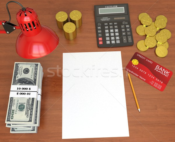 Desktop banchiere 3D ufficio carta Foto d'archivio © cherezoff