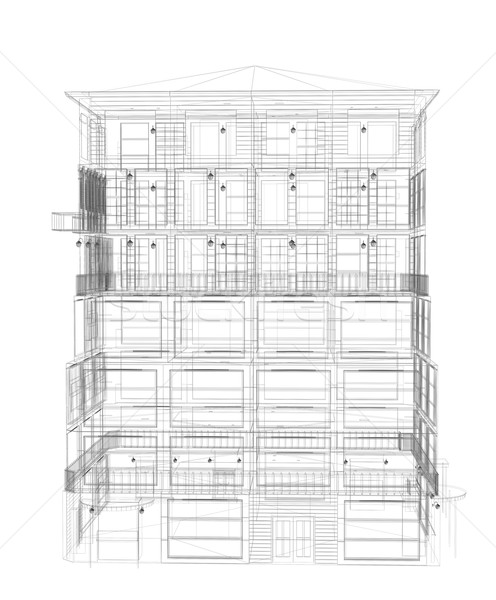 Detalhado edifício wireframe tornar isolado Foto stock © cherezoff