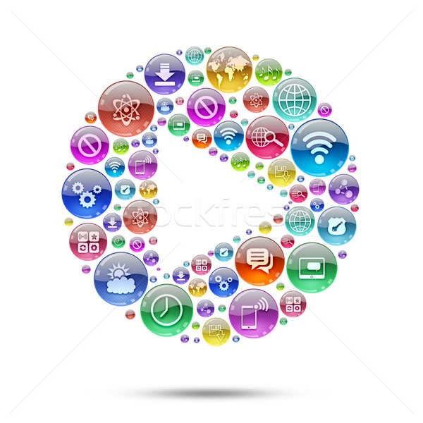 Silhouette icon PLAY of apps icons Stock photo © cherezoff