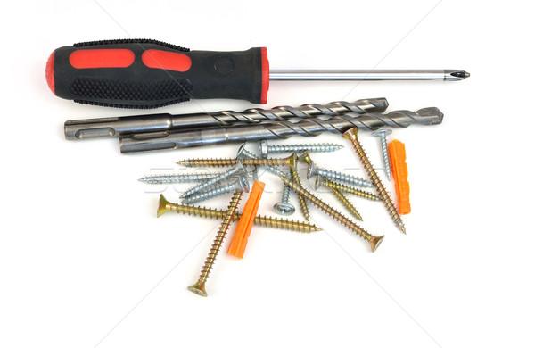 Screwdriver, drill and screws Stock photo © cherezoff